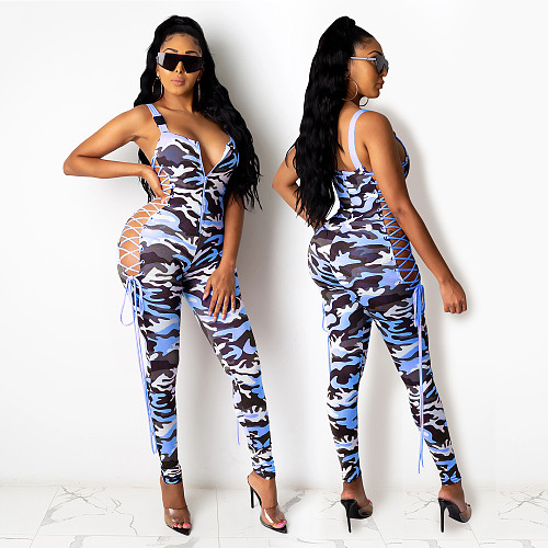 Camo Print Side Hollowed-out Band Sleeveless Jumpsuit BY-3647