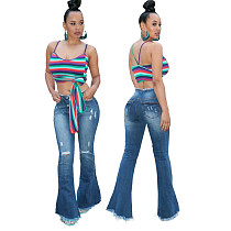 Versatile High Elastic Wash Worn Jeans Flared Trousers HSF-2101