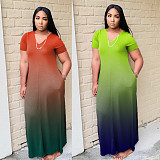 Women's Changing Color Short Sleeves Loose-fitting Dress WA-7028
