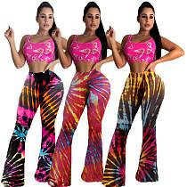 Trend Tie-dye Printed Slim Mid-waist Flared Trousers YUM-9037