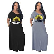 Sunflower Print V-neck Short Sleeves Loose Dress YIM-8126