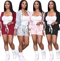Stylish Hooded Zipper Hoodie Shorts Sport Suit XMY-9259