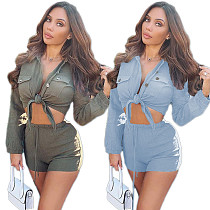 Sexy Solid Color Irregular Shirt Shorts Two-piece Set YM-8001