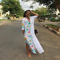 Women's Long-sleeved V-neck Printed Slit Shirt Dress FSL-106