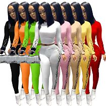 Fall Long Sleeve Navel Exposed Tops Tight Pants 2 Pieces Set QY-5199