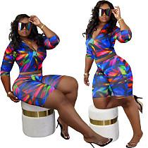 Fashion Tie-dye Jacket Skinny Shorts Two-piece Set MN-9265