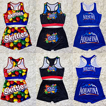 Cute Gushers Snickers Skittle Bodycon Shorts 2 Pieces SHD-9296