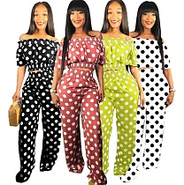 Stylish Off Shoulder Polka-dot Top Wide-leg Pants 2 Piece Set PIN-8377