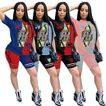 Summer Poker Printed T-shirt Burnt Knickers Two-piece Set DAI-8241