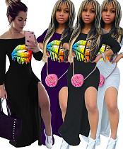 Fashion Lip Print Slanted Shoulder Side Slit Dress Q-5871