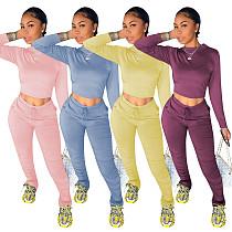 Women's Solid-color Long-sleeved T-shirt Pencil Pants Suit MOF-5181
