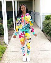 Personalized Floral Print Jacket Pencil Pants Two-piece Set LSL-6379