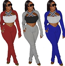 Fall Zip-up Dew Waist Jacket Pleated Split Pants 2 Piece Set CYAO-8586