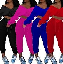 Autumn Solid Color Elastic Waist Blouse Slacks 2 Piece Suit YLY-889