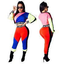 Color Spliced Long-sleeved Elastic Waist Blouse Pants Suit TE-4101