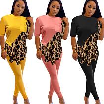 Women's Irregular Leopard Print T-shirt Tight Pants Suit OMY-8073