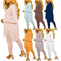 Autumn Solid Color Loose Long Sleeve T-shirt Leggings Suit NIK-173