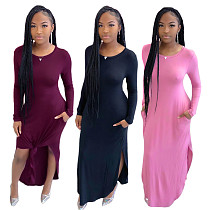 Autumn Round Neck Long-sleeved Floor-length Slit Dress SFY-164