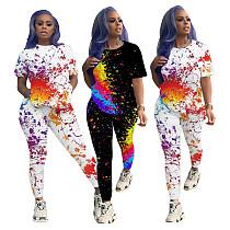 Fashion Graffiti Print Short Sleeve T-shirt Trousers Two-piece Set ML-7363