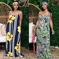 Women's Full Print Sleeveless Floor-length Halter Dress NK-8567