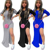 Women's Solid Color Off Shoulder Long Sleeves Slit Dress OYF-8221