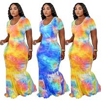 Fashion Tie-dye Printed Short Sleeve Floor-length Dress YFS-3560