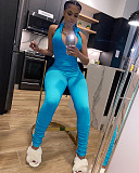Sexy Solid Color Pit Strip Sleeveless Front Zipper Jumpsuit OSM-4212