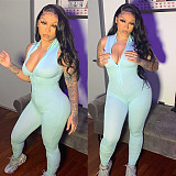Sexy Solid-color Stretch Front Zipper Collect Waist Jumpsuit CL-6073