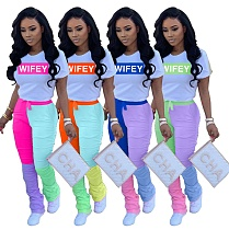 Stylish Letter Printed T-shirt Matching Color Pleated Trousers Suit WZ-8318