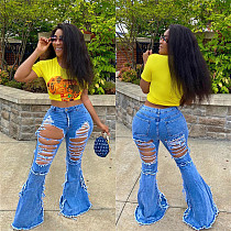 Autumn Hot Style Personality Ripped Denim Bell Bottoms LSL-6376
