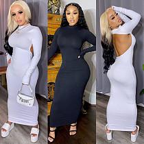 Women's Monochrome Backless Long Sleeves Slim Dress NY-2034