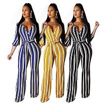 Fashion Stripe Print V-neck Wide Leg Jumpsuit With Belt SMR-9722