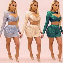 Women's Sequins Mesh Collage Crop Top Mini Skirt Set BY-3505