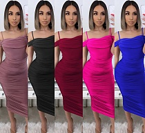 Sexy Women's Solid Color Off Shoulder Pleated Halter Dress BY-3595