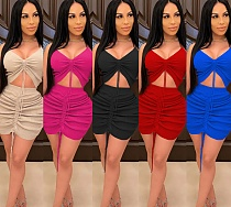 Sexy Solid-color Knit Belly-button Top Wrap Hip Skirt 2 Pieces BY-3617