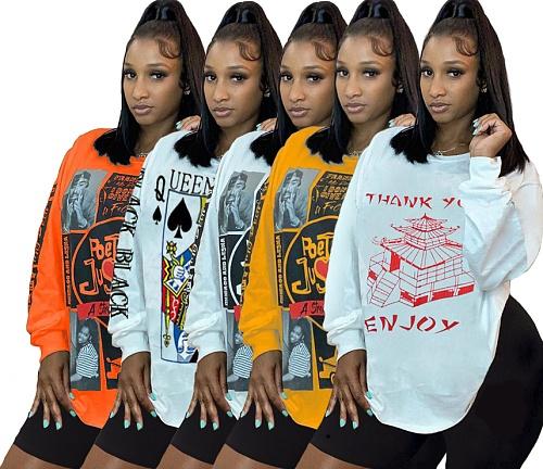Women's Street Print Long T-shirt Tight Shorts Two Pieces Set MUL-136
