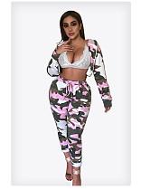 Women's Camouflage Hooded Jacket Skinny Pants Suit MR-9013