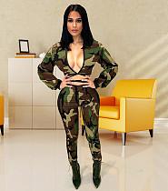 Autumn Camouflage Deep V-neck Cropped Top 2 Piece Pants WM-814