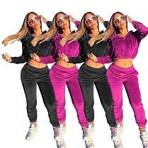 Velveteen Crop Navel Top Casual Pants Two-piece Set MR-9002