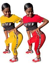 Versatile Letter Printed Short-sleeved T-shirt Sweatpants Set WM-823