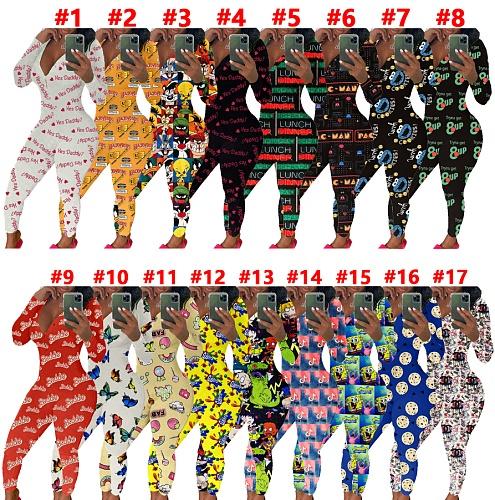 Women's Cartoon Print Long Sleeve Home Wear Jumpsuit SHD-9431