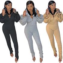 Puffed Sleeves Backless Zipper Hoodies Skinny Pants Set CM-781