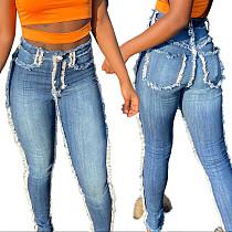 2020 Autumn Edge Grinding High Elastic High-waisted Jeans OD-8383