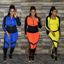 Women's Hooded Zipper Jacket Sport Pants 2 Pieces CQ-065