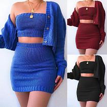 Fall Sweater Cardigan Wrap Bra Mini Skirt Three Pieces Set RS-3481