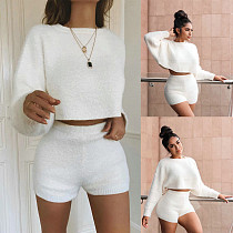 White Sweater Loose Long Sleeve Tops Tight Shorts Set RS-3456