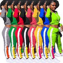 Color Contrast Zipper Blazer Sweatpants 2 Pieces Set LM-8188