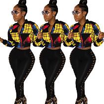 Women's Matching Color Plaid Patchwork Zipper Jacket ASL-6065