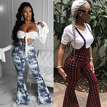 2020 Women Plaid Printed Sling Wide Leg Pants LSL-6151