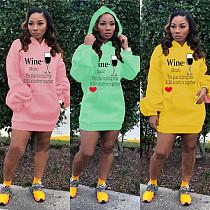 Fashion Letterpress Bubble Sleeve Hoodie Dress ABL-6613